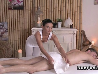 Sexy masseuse relaxing chap