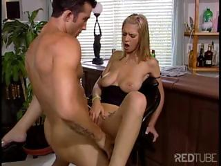 Concupiscent blonde gal at the bar drinks on a cock-tail and then receives pounded