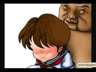 Cute 3D schoolgirl lady-boy screwed by monster