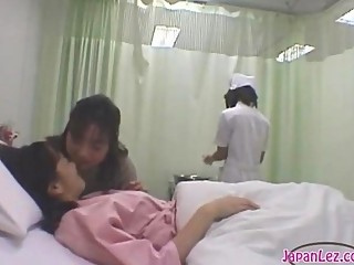 Patient Kissing With Her Girlfriend Getting Her Body Washed Tits Rubbed By The Nurse On The Bed In The Hospital