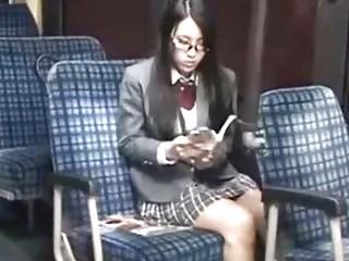 Schoolgirl tempted leg fucked by geek on bus