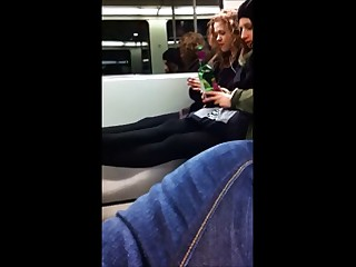 2 youthful honeys are not amused to get flashed on the train