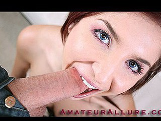 Redhead Legal Age Teenager Beauty Blows Weenie and Swallows Load