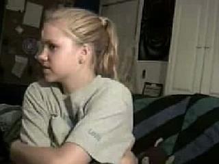 Blond cutie chatting on webcam