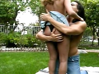 This blond babe gets mounted like a doxy out in her yard