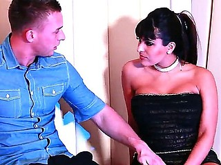 Hot seduction of a handsome stud done by the beautiful black haired babe Valery Summer