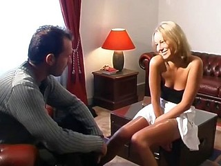 Sexy blond gal can't decide which cock to suck and fuck so this babe does them one as well as the other