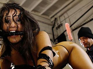 Gushing girl gets drilled in garage!