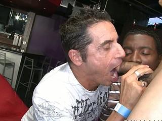 Mature man is making oral-stimulation