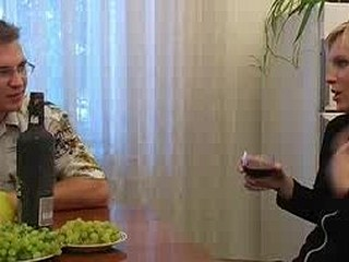 Irina and Boris are sharing drinks and conversation at the dining room table and this guy's secretly hoping to receive her drunk sufficiently to fuck. After a scarcely any drinks this babe's eating a banana out of his hands so it might not take as lengthy as that fellow thought. A scarcely any greater quantity glasses of wine go down and that sweetheart takes off her top and flashes her brassiere buddies at Boris and the camera. What that guy's truly looking for is a oral job and after a scarcely any greater quantity drinks this fellow stands up, undoes his panties and pulls out his pud. Just like that sweetheart did with the banana this sweetheart takes it in her mouth and sucks. There's no biting this time, just pure pleasure. Boris then bonks her fur pie all over the house and in several poses
