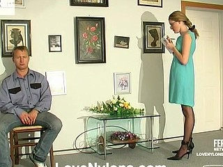 Ninette&Adrian sexually excited nylon movie scene