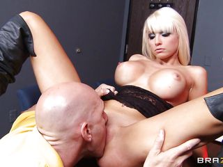 baldie squeezes blonde's giant fake tits