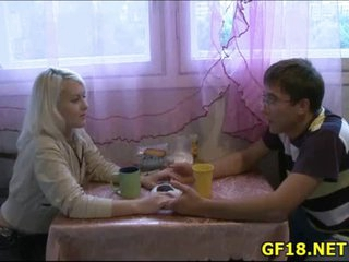Guy sits and stares at his girlfriend getting fucked hard