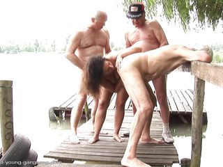 gabrielle being drilled by three old dudes