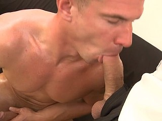 The throat of hot sporty gay is crowded brutally with the super hard strong pecker