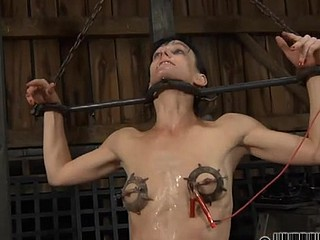 Sexy chick gets her smooth arse whipped during torture