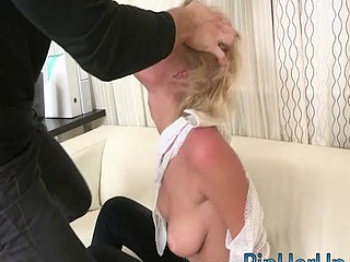 Hot short hair golden-haired get ripped in her hairless pussy