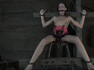 Masked beauty gets her brassiere buddies bounded hard with toy drilling