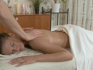 Bitchy slut with trimmed wet crack is getting her massaged