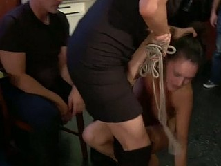 Cute darling suffers from a raunchy group punishment