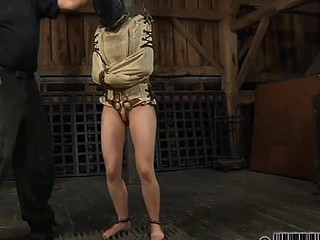 Restrained beauty is hoisted up for her sexy castigation