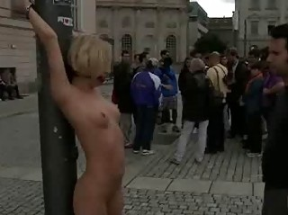 Blonde tied and exposed in public