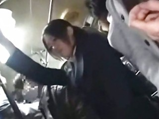 Office lady tempted fucked by geek on bus