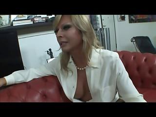 Blond Italian Tgirl Allana fuck on sofa