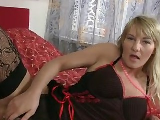Hawt blonde cougar round massive natural tits gets bare off her lingerie and gives her  hirsute pussy the great fucking close to the dildo