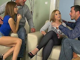 Hot a-hole brunette bitches Avril Sun and Eve Fox with natural hooters get nasty with James Brossman and Renato