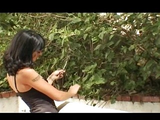 Dark-haired skinny babe with small tits gets screwed in the butt outdoors