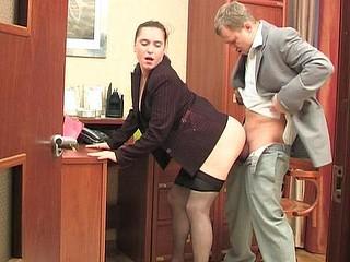 Joan&Adrian secretary hose movie scene
