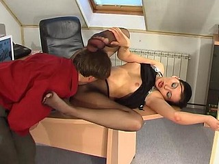 Laura&Morris red sexy nylon footsex