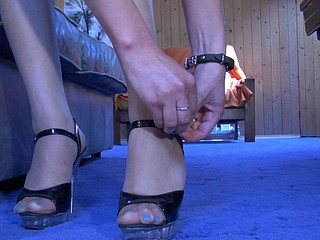 Laura showing her nylon feet