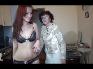 thin old nanny drilled by her hawt redhead