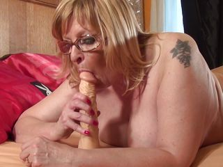 chubby mature practices with a marital-device