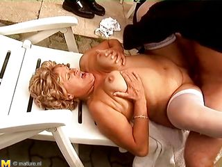 blond aged lady gets drilled hard