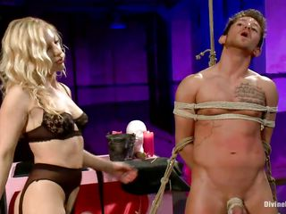 horny blonde mistress and her two slaves