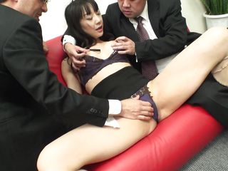 japanese milf with floppy tits receives clit rubbed