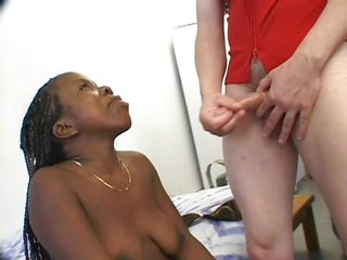 two guys fucking a black midget slut