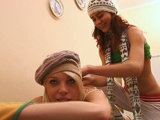Two naughty and miniature lesbos are pleasuring each other indoors