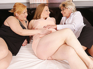 One overweight doxy is having wild and filthy sex with those both ladies