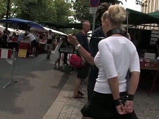 Public punishment for blond bitch in leash