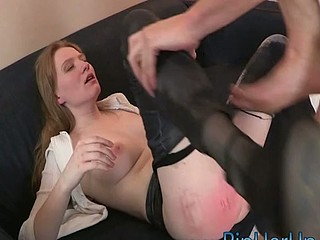 Chick stands in doggie to get her butt fucked from the behind