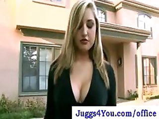 Incredibly Breasty Blonde Office Slut Likes Cleaning In Her Pantyhose