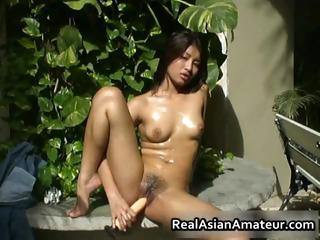 Nude Oriental beauty drills her cunt part6