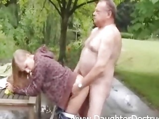 Cute hotty fucked by old dirty stud