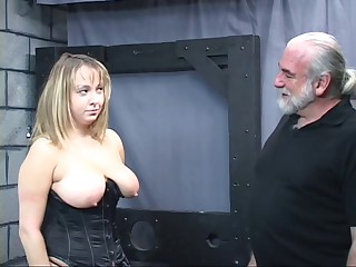 Old man dom pulls fat sub&#039,s hair and smacks her big tit