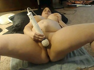 Huge Titted Young BBW cums on web camera