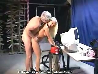 Old man releases his stiff boner